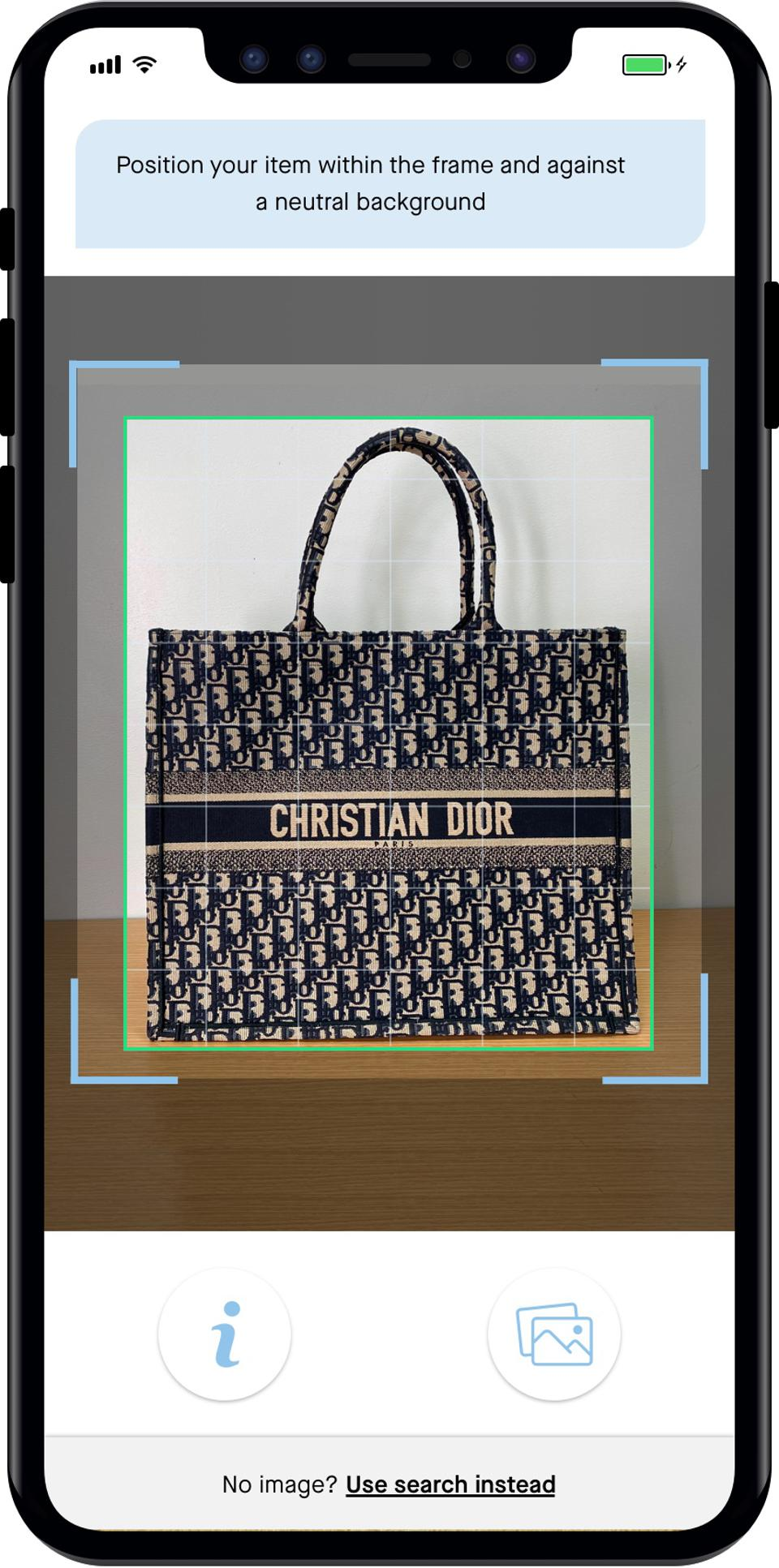 Clair AI identifies this image as Dior's Book Tote Oblique.