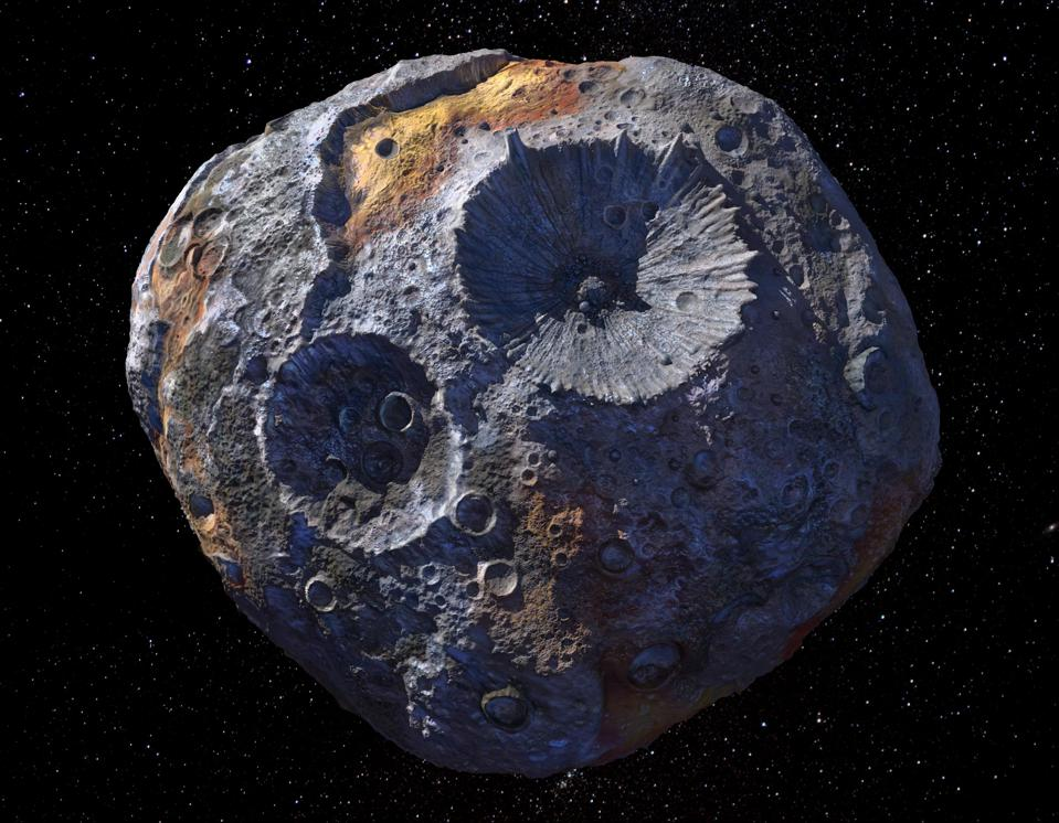 This artist's concept depicts the 140-mile-wide (226-kilometer-wide) asteroid Psyche, which lies in the main asteroid belt between Mars and Jupiter. Psyche is the focal point of NASA's mission of the same name. The Psyche spacecraft is set to launch in August 2022 and arrive at the asteroid in 2026, where it will orbit for 21 months and investigate its composition.
