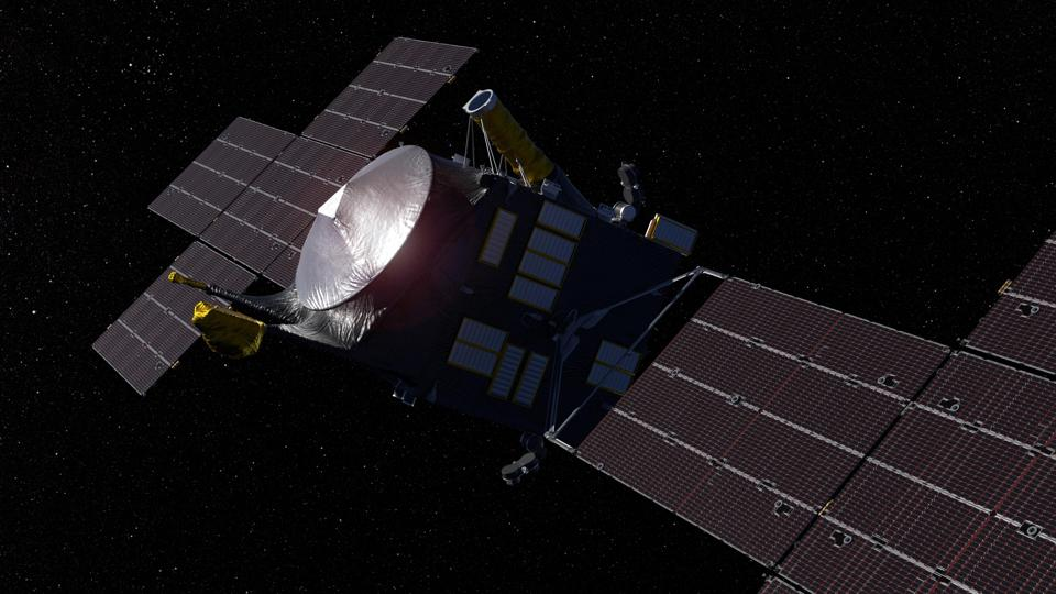 This artist's concept, updated as of June 2020, depicts NASA's Psyche spacecraft. Set to launch in August 2022, the Psyche mission will explore a metal-rich asteroid of the same name that lies in the main asteroid belt between Mars and Jupiter.