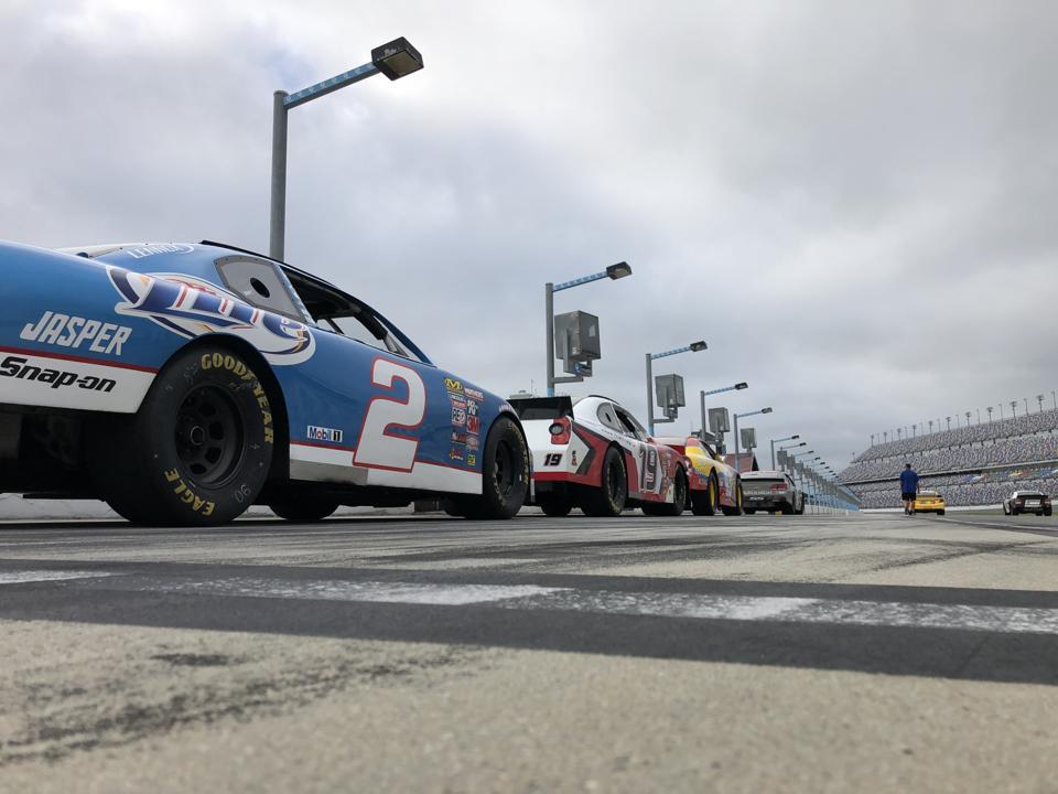 NRE cars on pit lane at Daytona