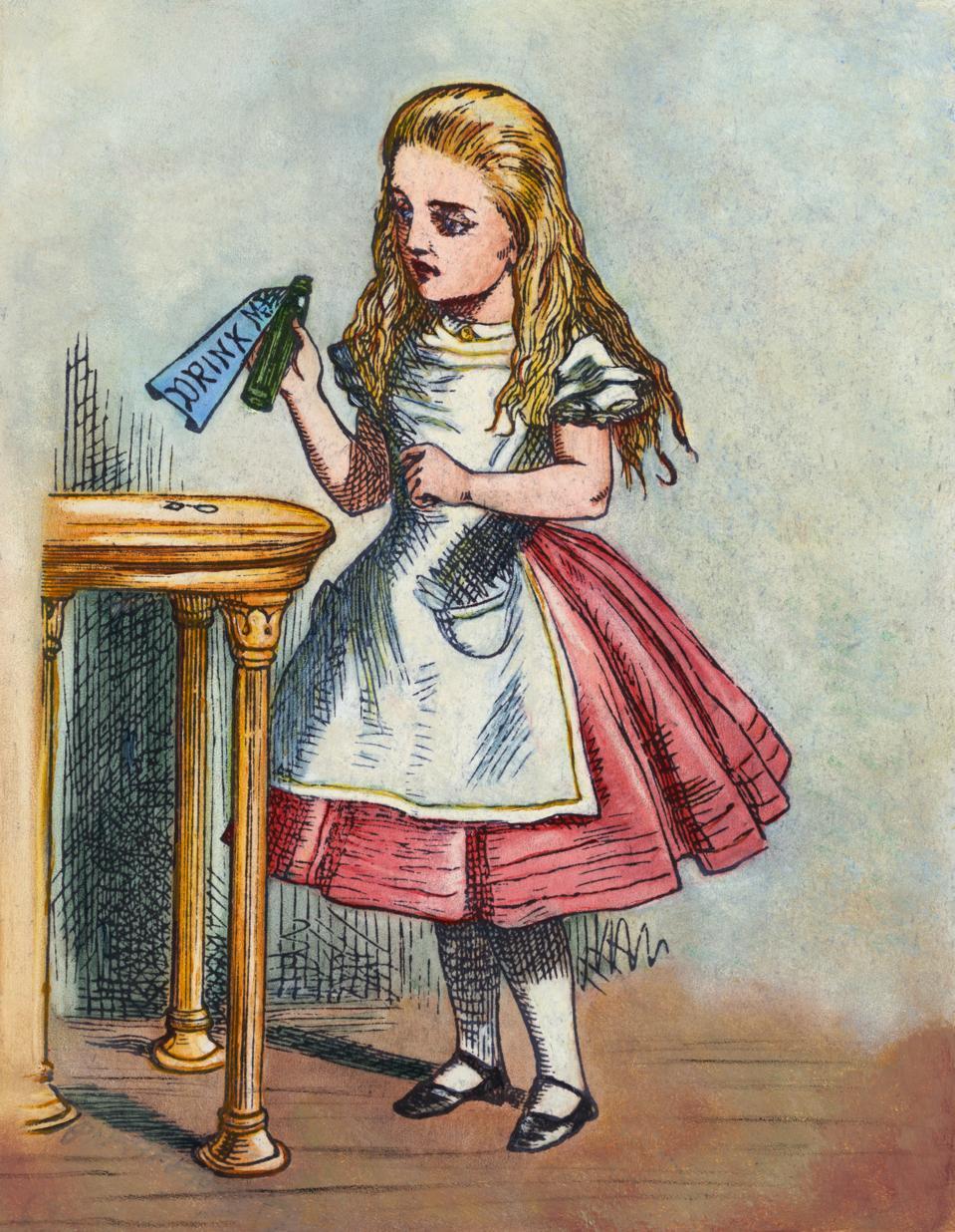 Illustration Depicting Alice Holding the Bottle Labelled ″Drink Me″ after John Tenniel