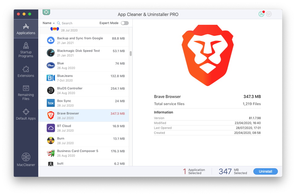 Screenshot of App Cleaner and Uninstaller PRO