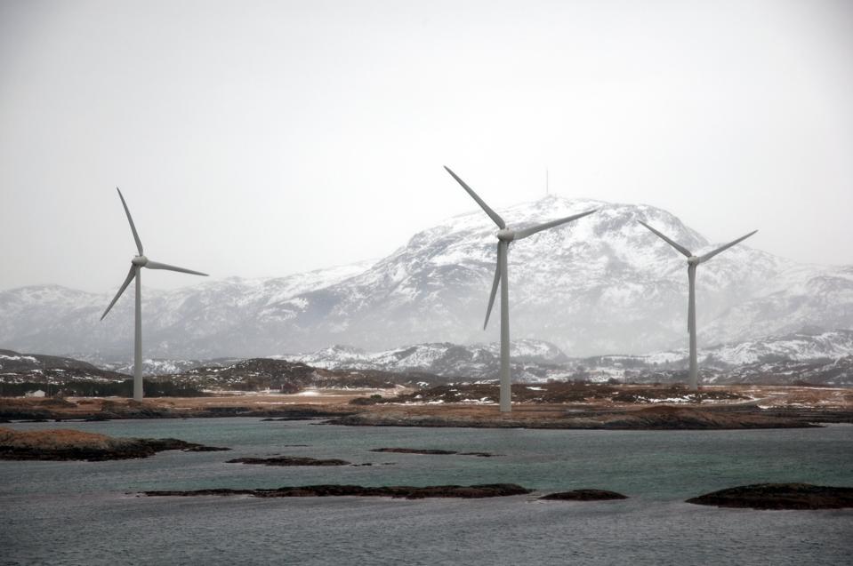 Three windturbines at bay of Stoksund, Norway