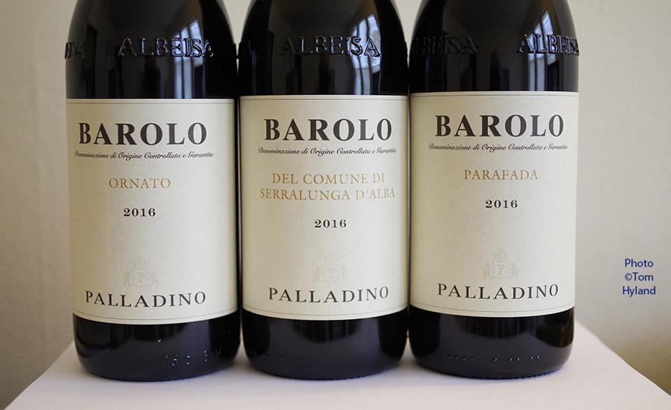 Bottles of Palladino Barolo from the 2016 vintage: Ornato, Serralunga, Parafada