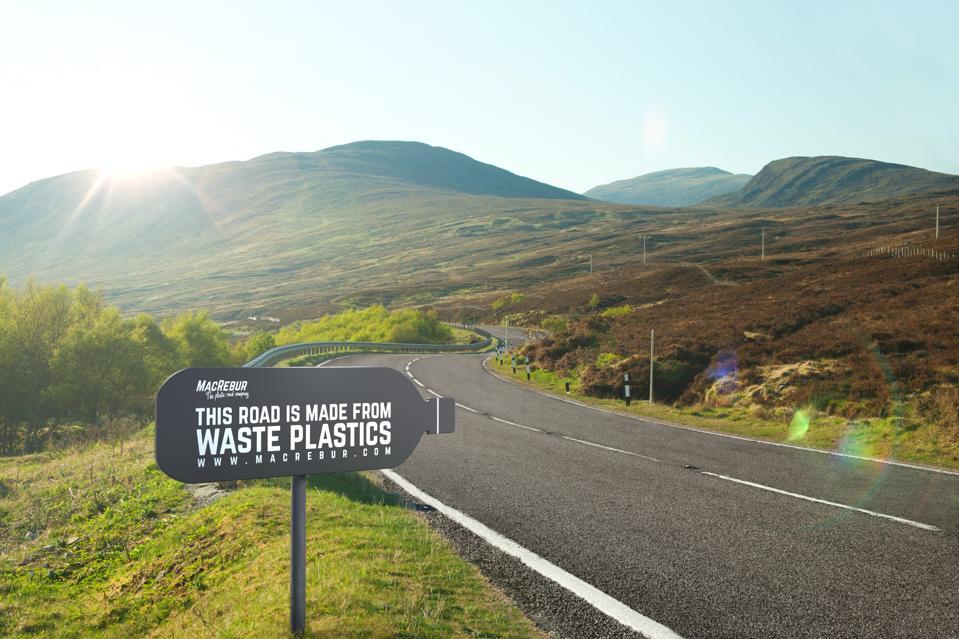 A MacRebur road with sign