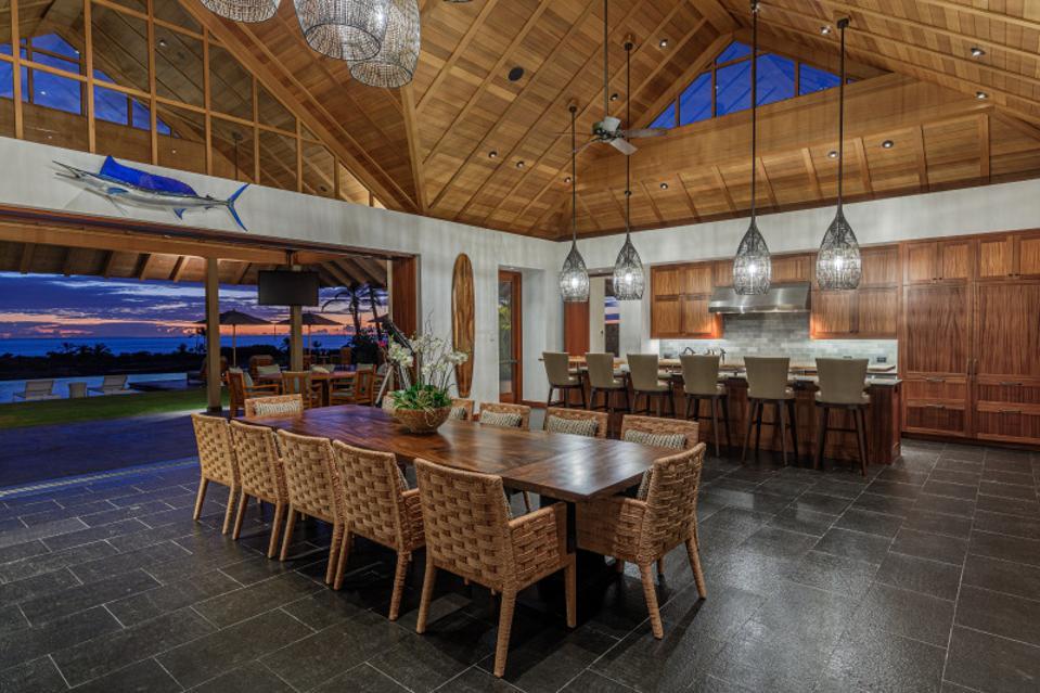 kitchen and dining room inside 73-4746 aukai pl in kalua-kona, hawaii