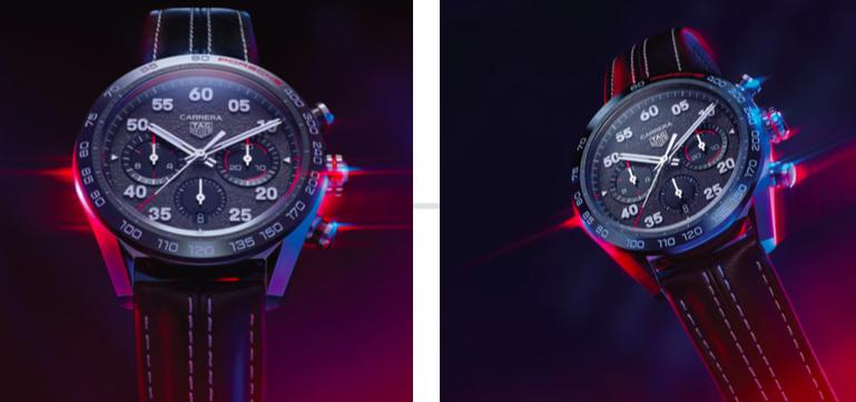 The Porsche colors of red, black, and grey – which also recall historic Heuer models – are incorporated throughout the watch,