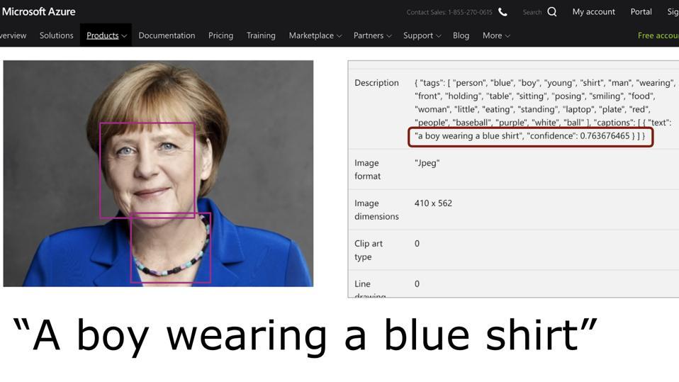 Microsoft Azure Vision API analyzes that Angela Merkel is ″a boy wearing a blue shirt.″