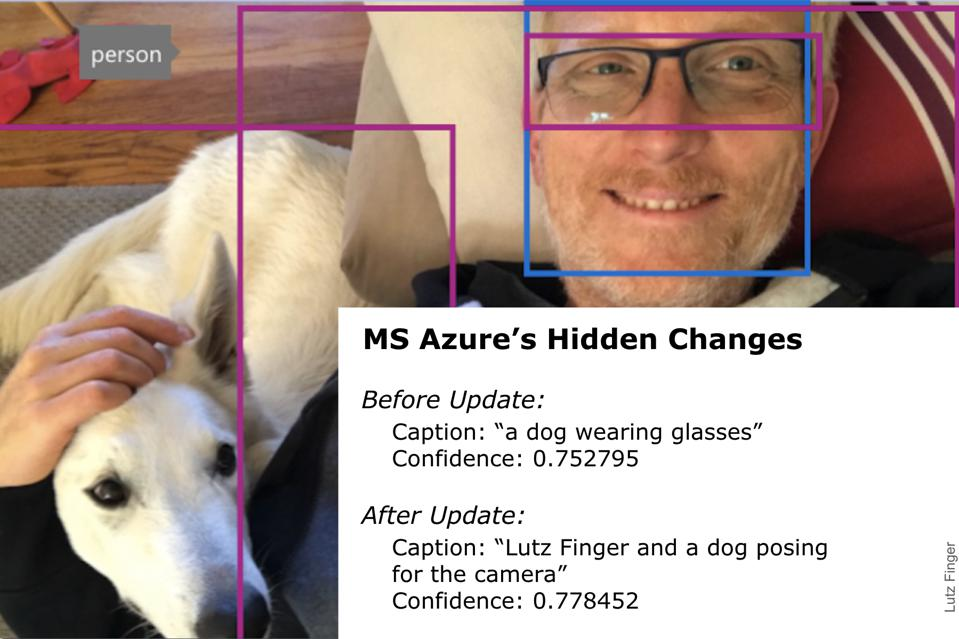 Initially Microsoft Azure analyzed the image to be ″a dog wearing glasses″.