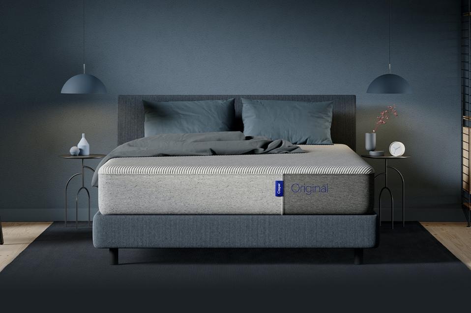 Casper memory foam mattress set up in a room.