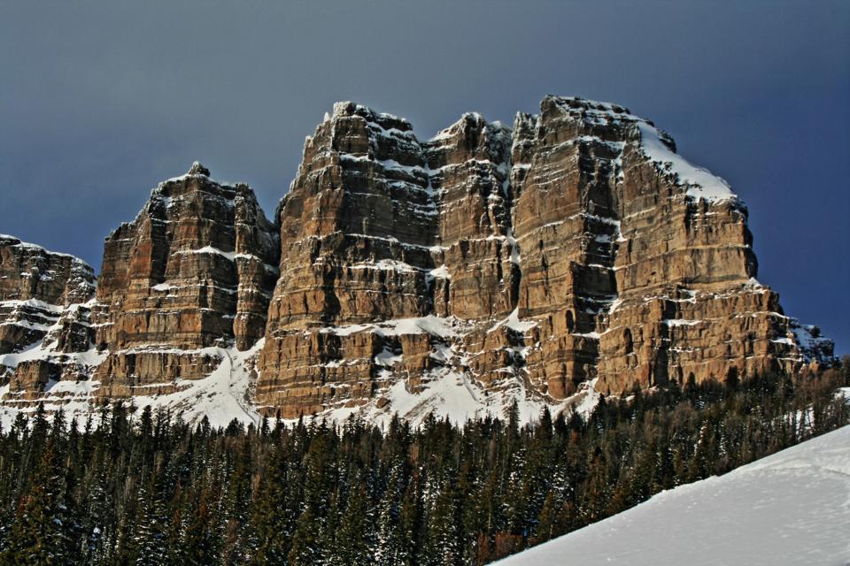 Breccia Peak and Cliffs snow-clad in winter