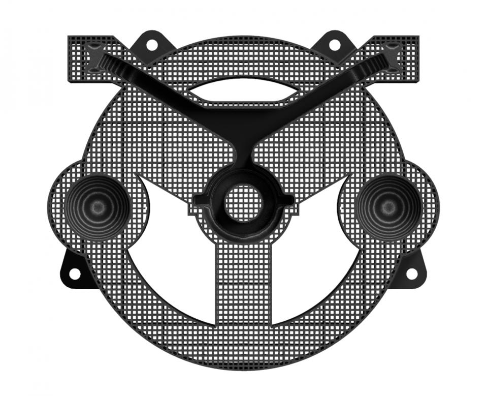 A rendering of a fixture design to be 3D printed.