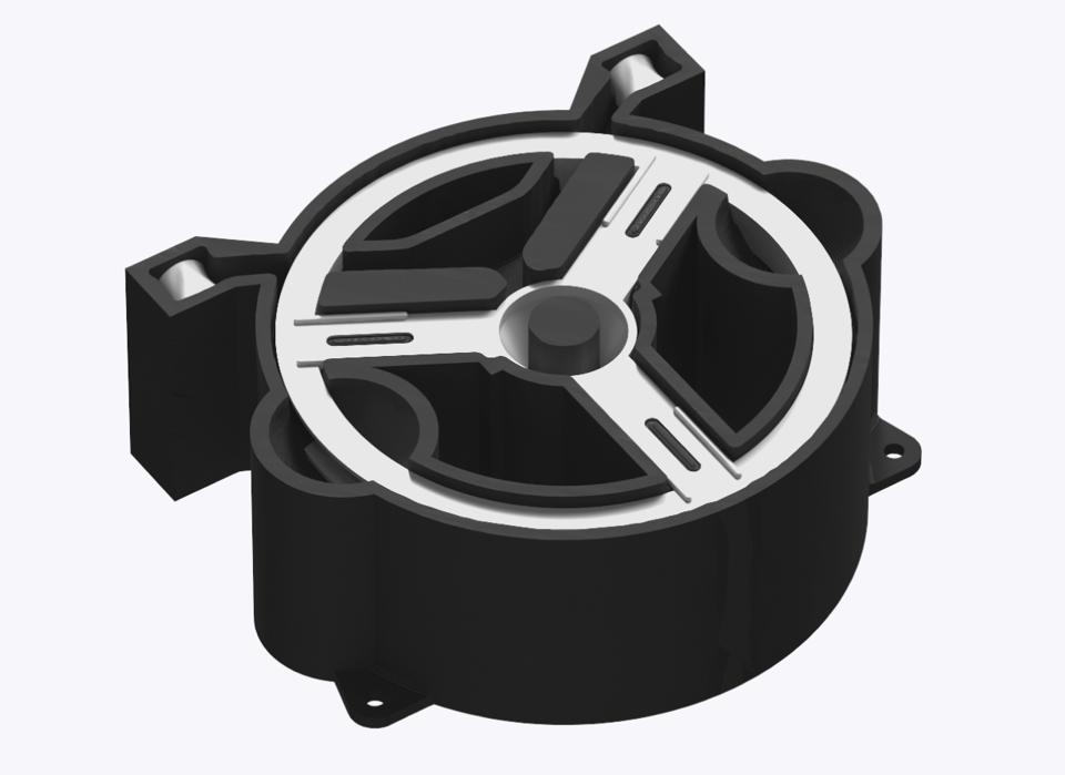 A rendering of a fixture holding a part.