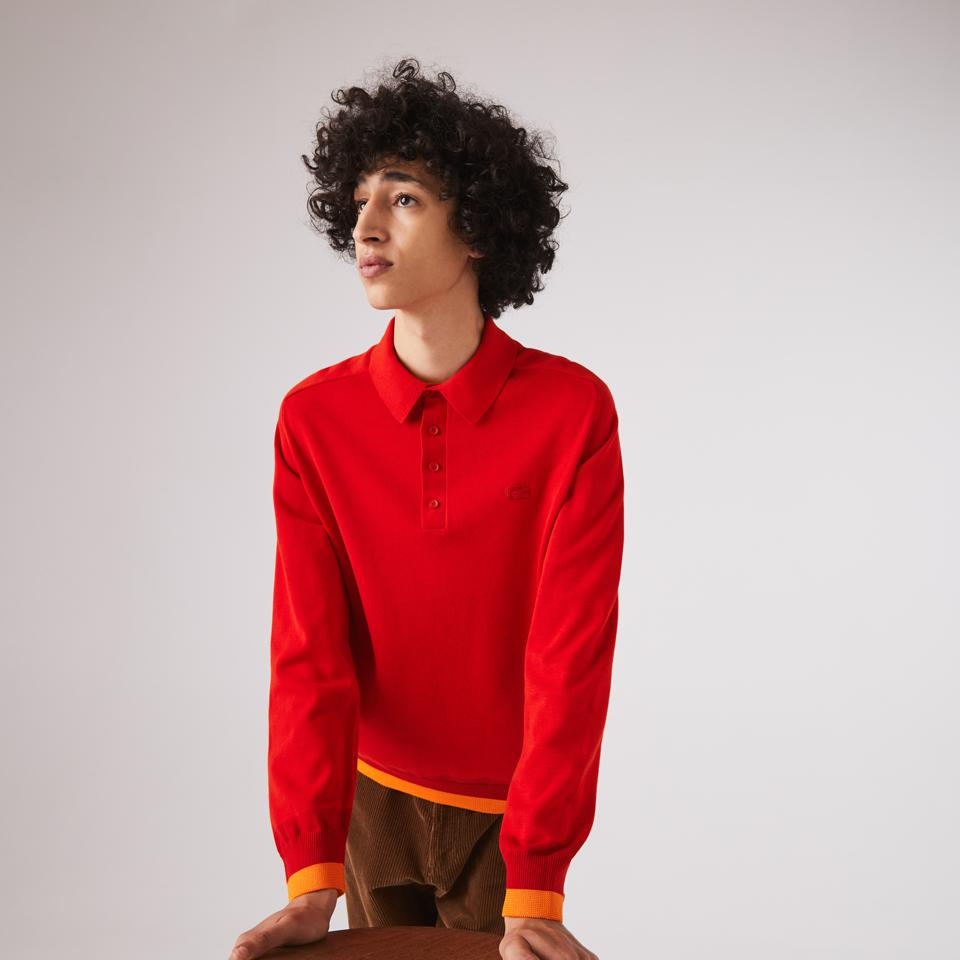 Men's Contrast Organic Cotton Sweater perfect for Valentine's Day, Chinese New Year, seasonally around early Spring as well as Fall and Winter.