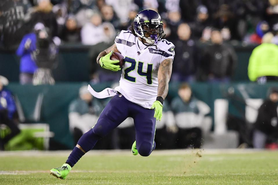Marshawn Lynch #24 of the Seattle Seahawks runs the ball against the Philadelphia Eagles in the NFC Wild Card Playoff game at Lincoln Financial Field on January 05, 2020 in Philadelphia, Pennsylvania.