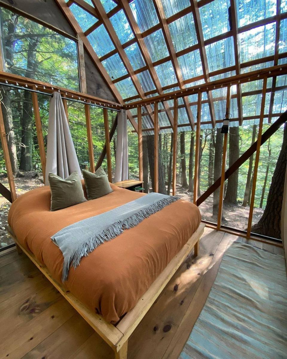 Open air glamping in forest