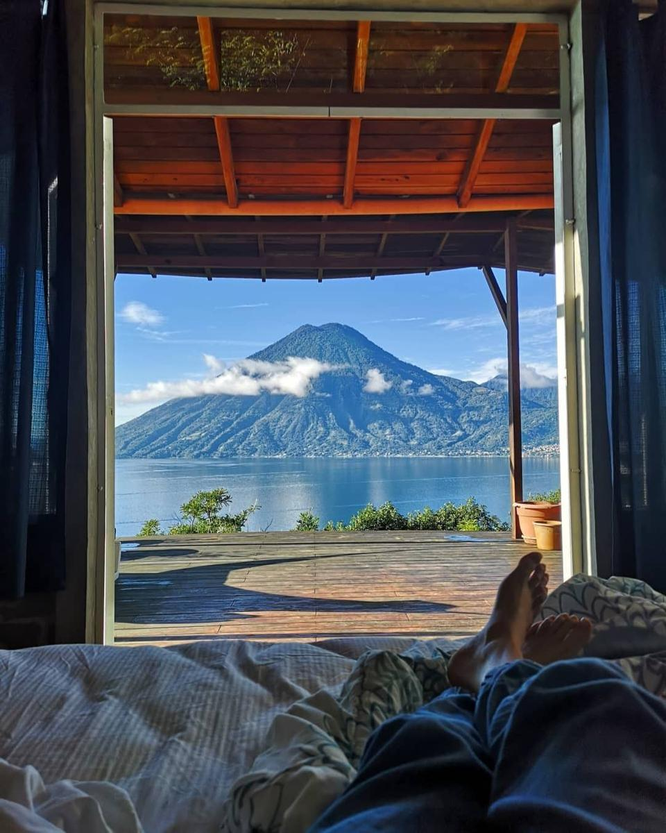 Lake and volcano view from room at Airbnb