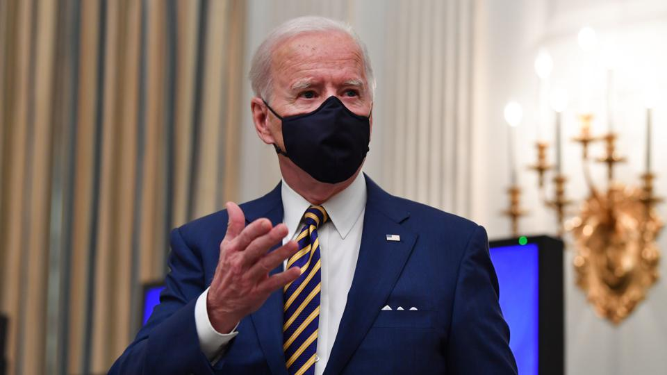 President Joe Biden wearing face mask