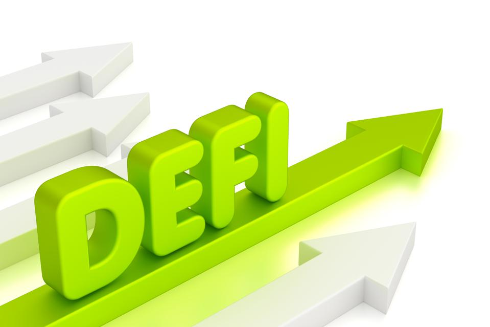 Upward-pointing green arrow with text ″DEFI.″ Decentralized finance/fintech concept.