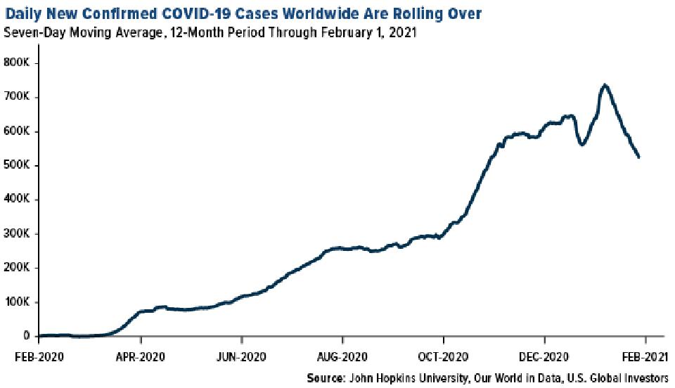daily new confirmed COVID cases worldwide rolling over as of February 2021
