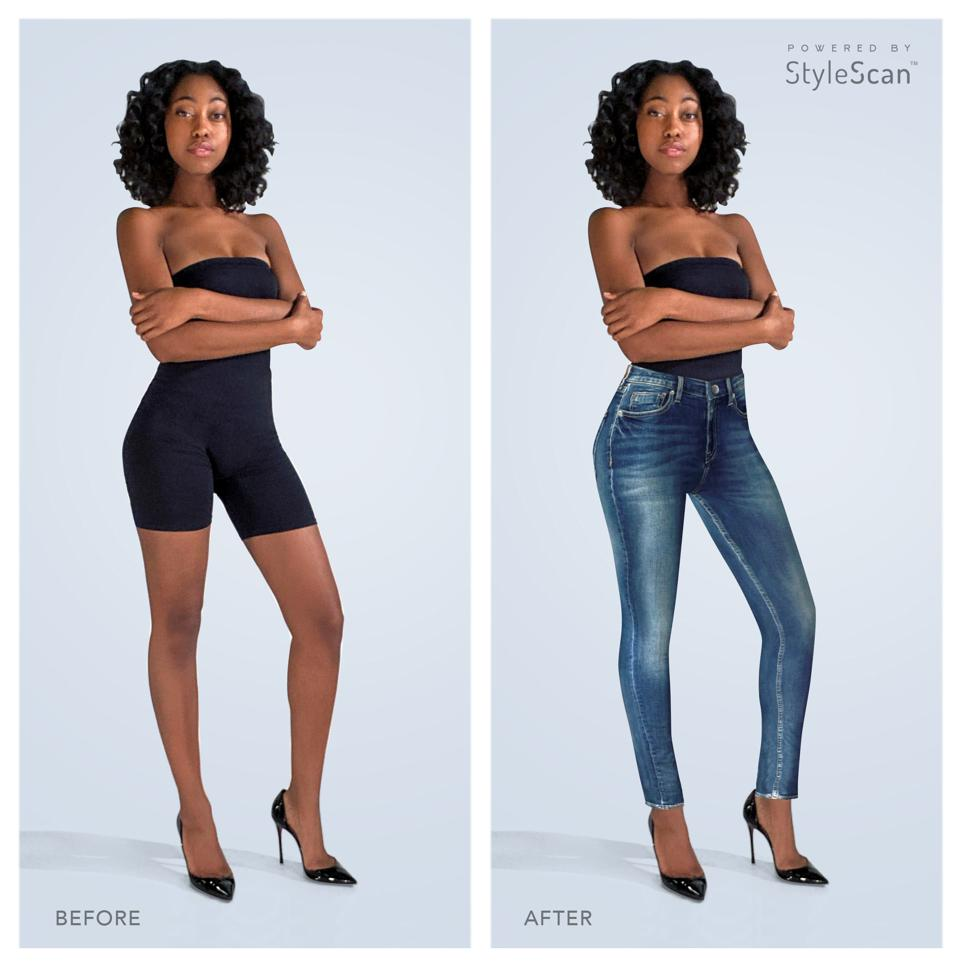 Before and after photo of a woman digitally dressed by StyleScan's algorithm.