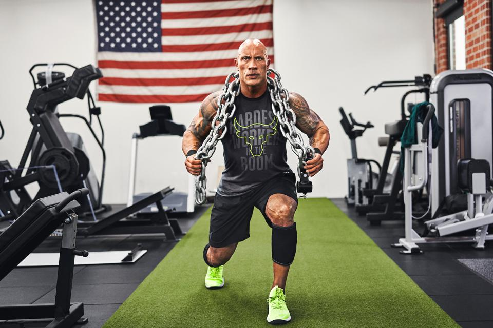 Dwayne ″The Rock″ Johnson wearing new footwear from Project Rock with Under Armour