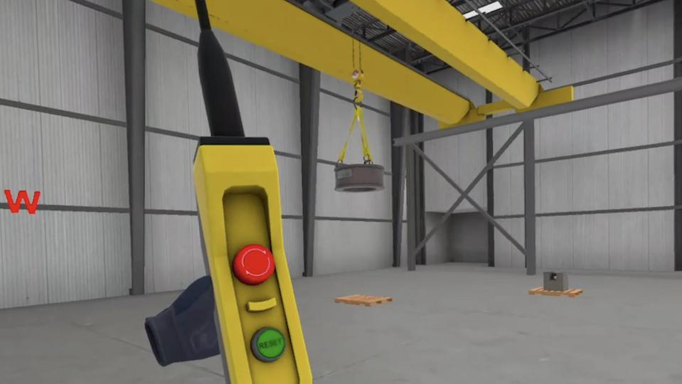 The view a trainee would see using TRANSFR's bridge crane VR training.