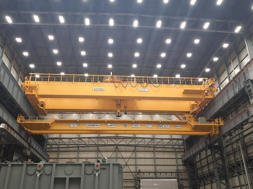 One of the bridge cranes at the Hyundai Power Transformers plant.