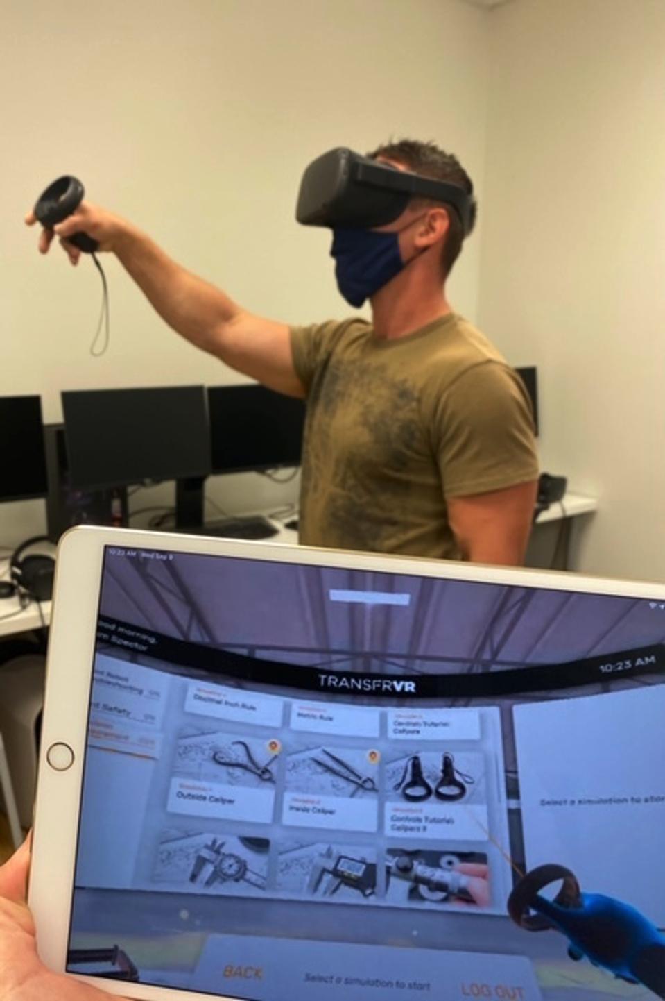 A trainee using TRANSFR's virtual training program.