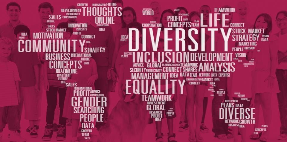 World cloud of common phrases for diversity and inclusion.