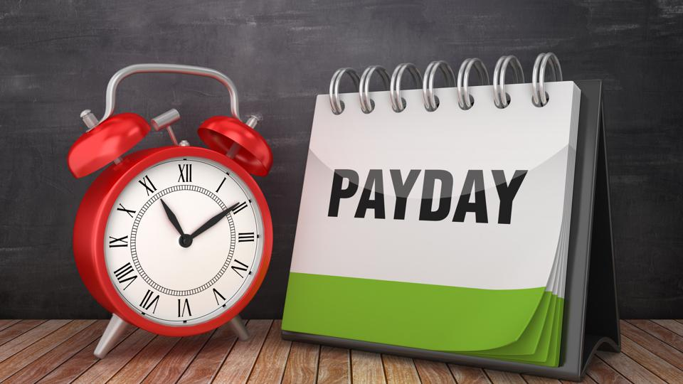 PAYDAY Calendar with Alarm Clock on Chalkboard Background - 3D Rendering
