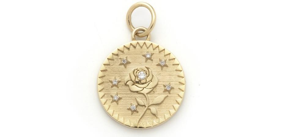 Médaillon Rose du Monde, or 18 carats et diamants, Foundrae