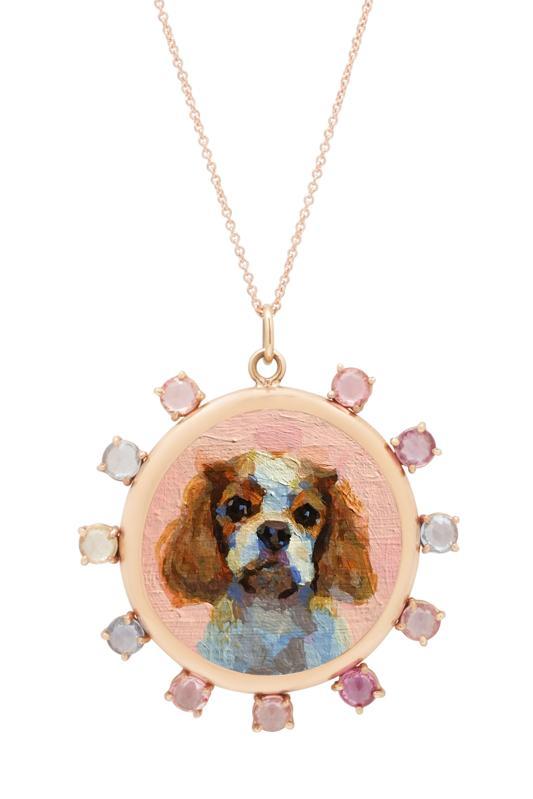 Collier personnalisé portrait animalier, or 14 carats et saphirs taille rose, Fox & Bond