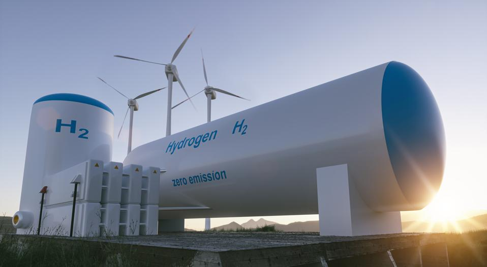 Hydrogen renewable energy production - hydrogen gas for clean electricity solar and windturbine facility.