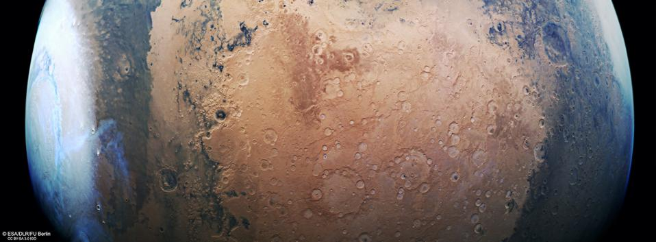 This image from ESA's Mars Express shows a beautiful slice of the Red Planet from the northern polar cap, and highlights cratered, pockmarked swathes of the Terra Sabaea and Arabia Terra regions. It comprises data gathered on 17 June 2019 during orbit 19550.