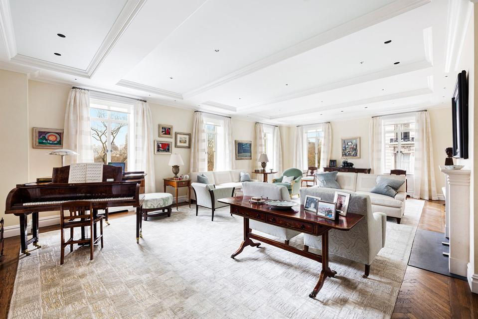 living room inside 145 Central Park West 4C at san remo in new york city