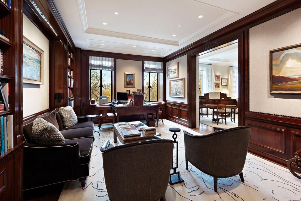 office/library inside 145 Central Park West 4C san remo in new york city
