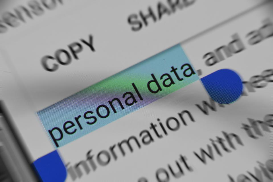 Image of computer screen with the words ″personal data″ highlighted.