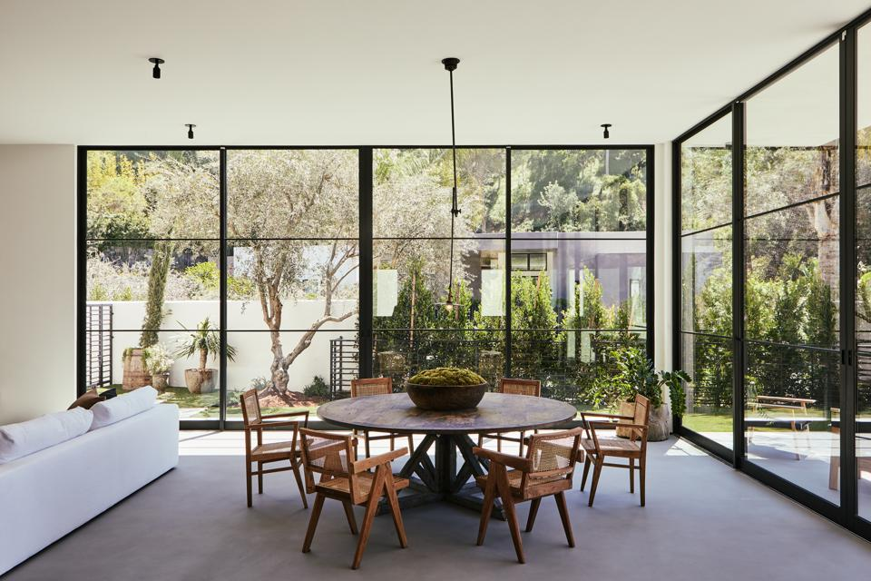 dining area in bobby flay's hollywood home