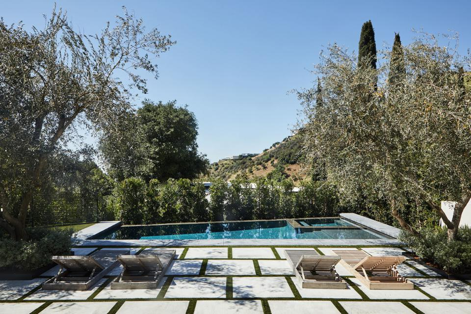 patio and pool at bobby flay's new home in los angeles