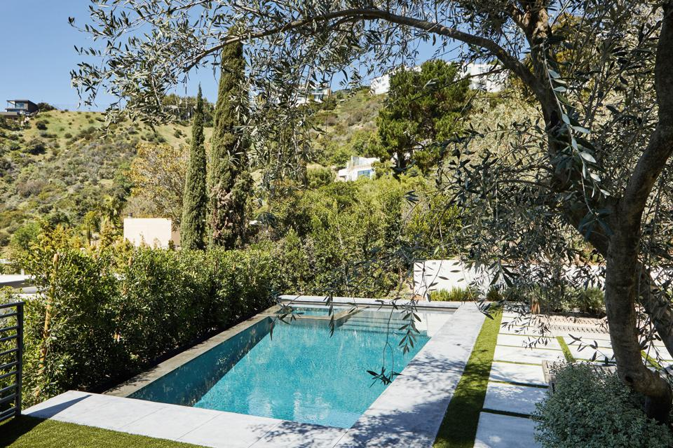 swimming pool at bobby flay's new home in hollywood hills los angeles