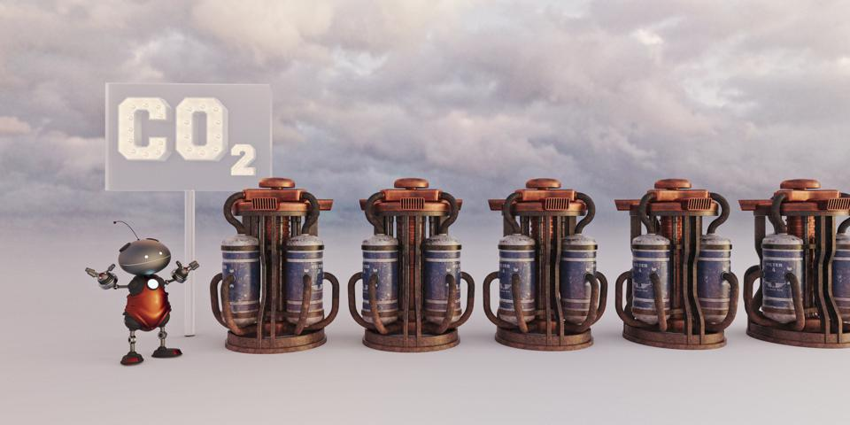 Carbon capture concept with futuristic robot and CO2 cylinders to hold the global warming gas