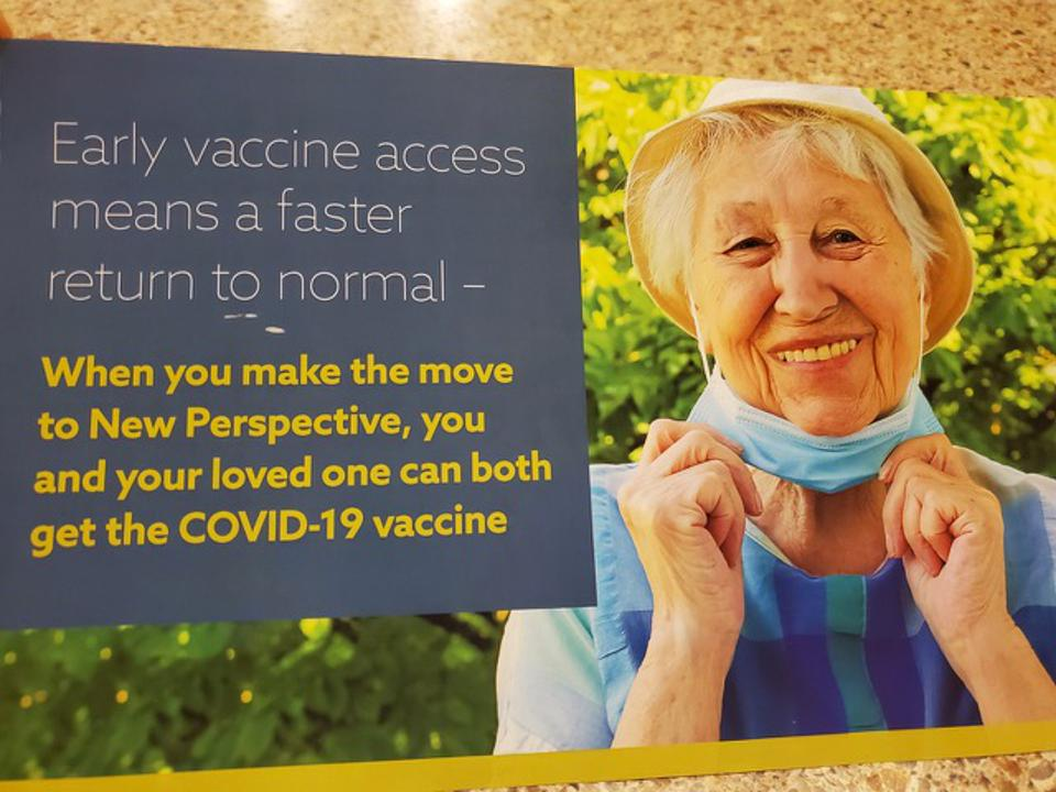 Mailer advertisement with a smiling elderly woman