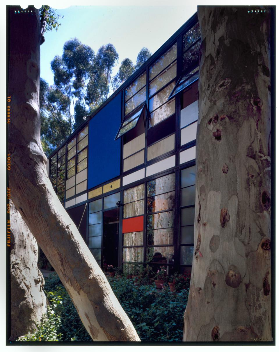 The front side of the Eames House Case Study #8 designed by archictects Charles and Ray Eames in