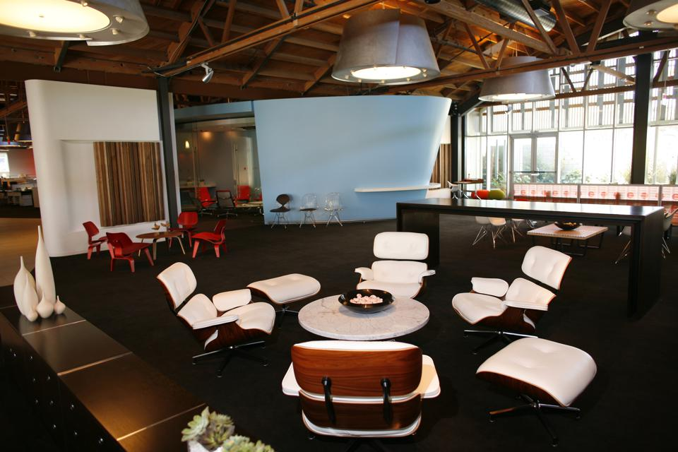 Scenes from the new showroom of Herman Miller which shows classic designs by Charles and Ray Eames,