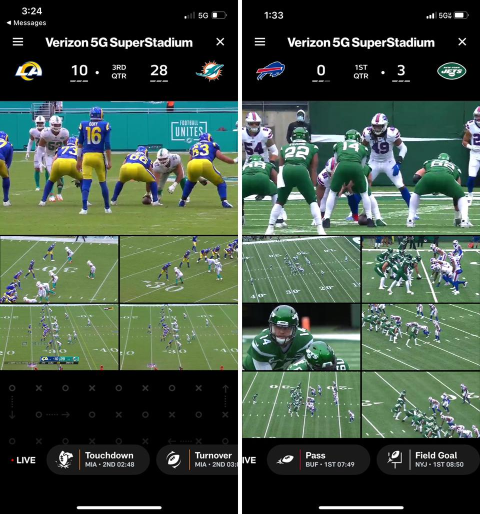 Two screenshots of the NFL app's ″SuperStadium″ view of multiple video streams of a game.
