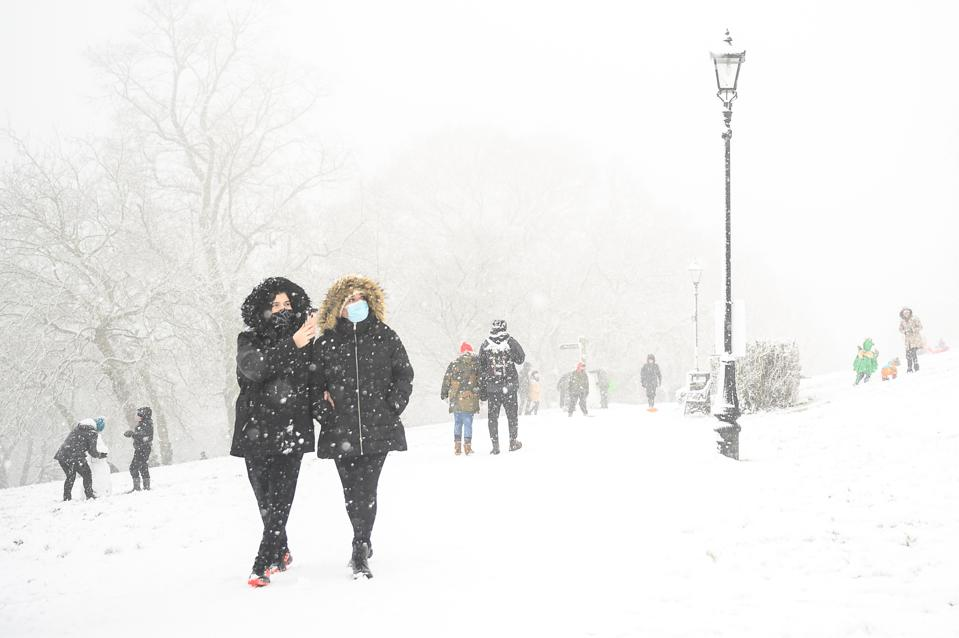 A snow-covered London during lockdown