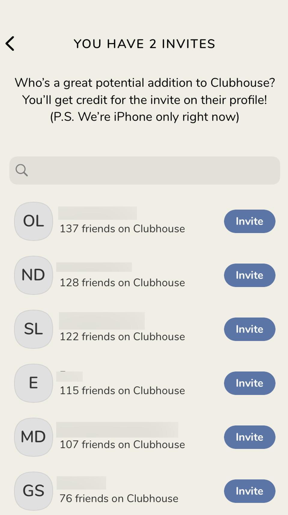 Clubhouse invite screen