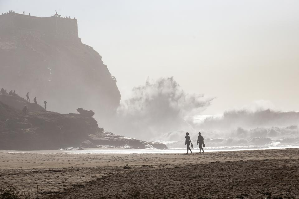 The surf in Nazare, Portugal, is dramatic and high on an October day 2020
