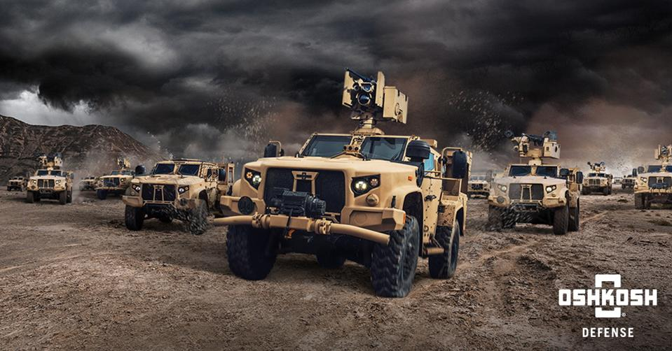 JLTVs with a variety of weapons configurations.